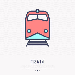 Train thin line icon, front view. Modern vector illustration of public transport.
