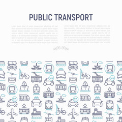 Public transport concept with thin line icons: train, bus, taxi, ship, ferry, trolleybus, tram, car sharing. Front and side view. Modern vector illustration for banner, web page, print media.