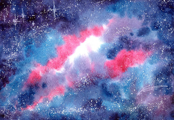 Watercolor Background with Outer Space, Stars and Colorful Nebula