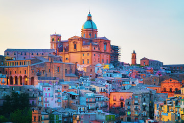 Piazza Armerina cityscape panorama Cathedral and old town Sicily in evening Wall mural