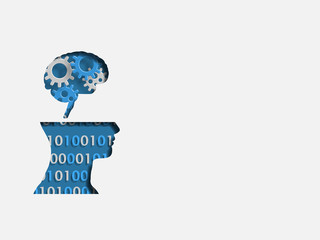 Blue human head model containing group of 3d iron gear and digits represents concept of engineering and innovation. Technology Background. Vector illustration.