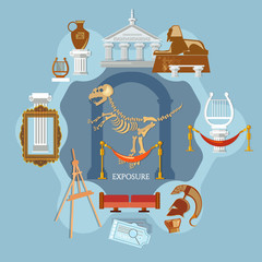 Archeological museum of antiquity and natural science, exposition ancient civilizations flat concept
