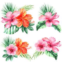 Watercolor set of floral tropical natural elements.