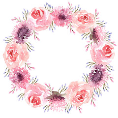watercolor round wreath with leaves and wildflowers
