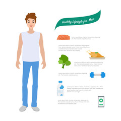 Young man in healthy lifestyle infographics. Healthy people concept design.