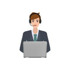 Business man in call center. Customer service character. Illustration vector flat design.