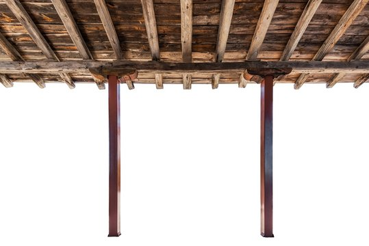 Porch roof rustic style isolated interior view