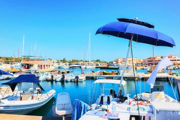 Port with boats in Villasimius Cagliari South Sardinia