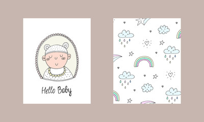 Cute hand drawn Newborn baby card. Cartoon vector background