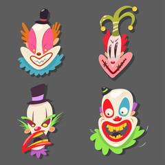 Scary clown face set. Vector cartoon illustration of circus performers with evil emotions isolated on background.