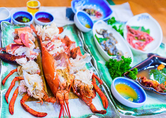 Lobster and traditional Korean food served in restaurant in Busan