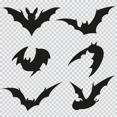 Bat black silhouette of different shapes in flight. Vector flat icons isolated on a transparent background.