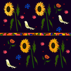 Background picture of sunflowers of birds and flowers