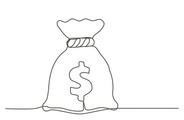 Money bag One line drawing