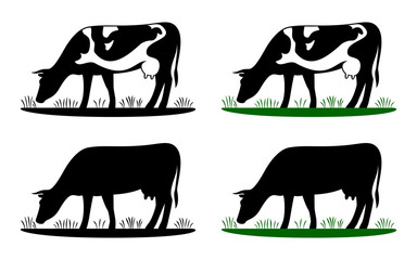 Cow grazing on meadow, cow silhouette in field eating grass. Vector cow icon or logo for farm store or market. Milk, dairy, farm product design element set.
