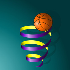 basketball ball on a spiral of tape