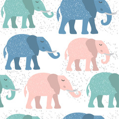 Childish seamless pattern with cute elephant. Creative texture for fabric.