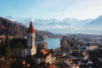 Panorama of Thun Church and Town with Alps Thunersee