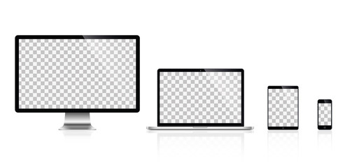 Realistic set of monitor, laptop, tablet, smartphone - Stock Vector illustration