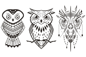 Owl tattoo vector set isolated on white background.