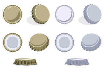 Bottle cap view from top, side and bottom. Vector set of beer or soda lid icons isolated on white background.