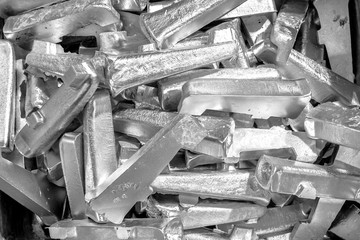 Platinum ingots background. Metal texture. Silver backgroun. Stainless steel, aluminium, white gold.