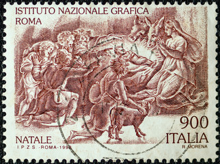 Italian stamp about the Nativity.