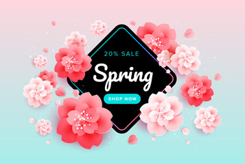 Spring sale background banner with beautiful flowers - pink and green gradient background - colorful spring illustration, poster, web header, brochure, discount voucher design template, email header