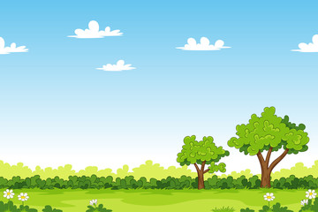 Deurstickers Blauw Cartoon summer landscape with trees