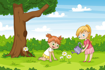 Wall Mural - Two girls in the garden. Funny cartoon character.