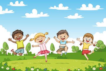 Wall Mural - Happy jumping children. Funny cartoon character.
