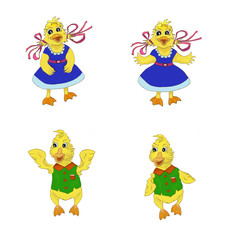 Cartoon ducklings are dressed and standing in different poses