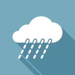 rain, weather icon. White flat icon with long shadow on background