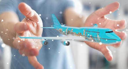 Businessman with plane and famous landmarks of the world 3D rendering