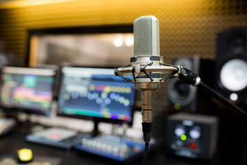 Professional microphone in the recording studio.