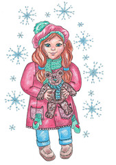 Cute little girl in winter dress holding the teddy bear surrounded by snowflakes