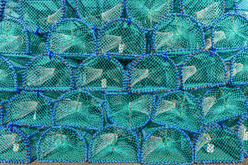 Turquoise and blue cages mesh background - Fish trab on Isle of Mull, Scotland, Great Britain