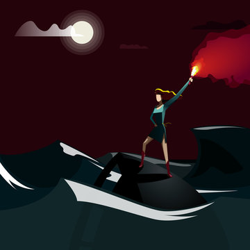 Woman with Signal Flare Standing on a Sinking Ship