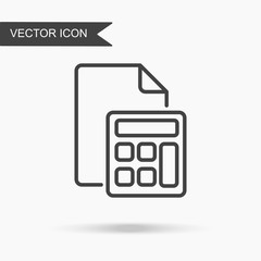Modern and simple vector illustration of a document icon and calculator. Flat image with thin lines for application, website, interface, presentation, infographics on white isolated background