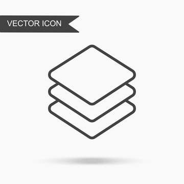 Modern and simple vector illustration three layer icon. Flat image with thin lines for application, website, interface, business presentation, infographics on white isolated background