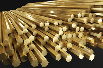 Warehouse of brass rods, rolled metal products. Isolated on gray background, clipping path included. 3D illustration  Wall mural