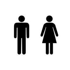 man and woman icons, toilet sign, restroom icon. Male and Female sexual orientation Vector illustration