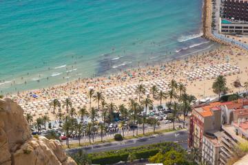 Aerial view of Postiguet beach, Alicante, Spain