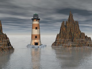 Lighthouse on the sea under sky - 3d rendering