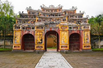 The gate to the Hung To Mieu Temple in the Imperial City, Hue, Vietnam