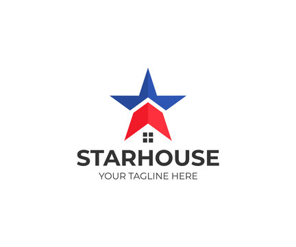 Star and house logo template. American house vector design. Real estate illustration