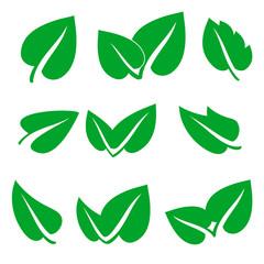 green spring leaf icons set, stock vector illustration