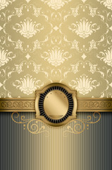 Wall Mural - Decorative background with elegant golden border.