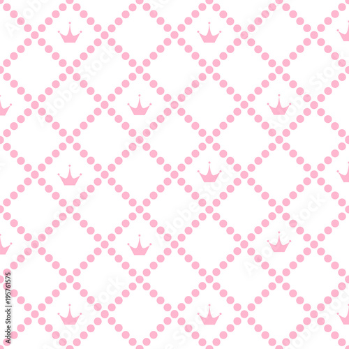 Princess Background Pattern With Pink Crown Stock Vector