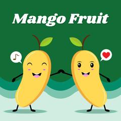 Mango fruit character, Vintage poster flat design with Vector illustration EPS10